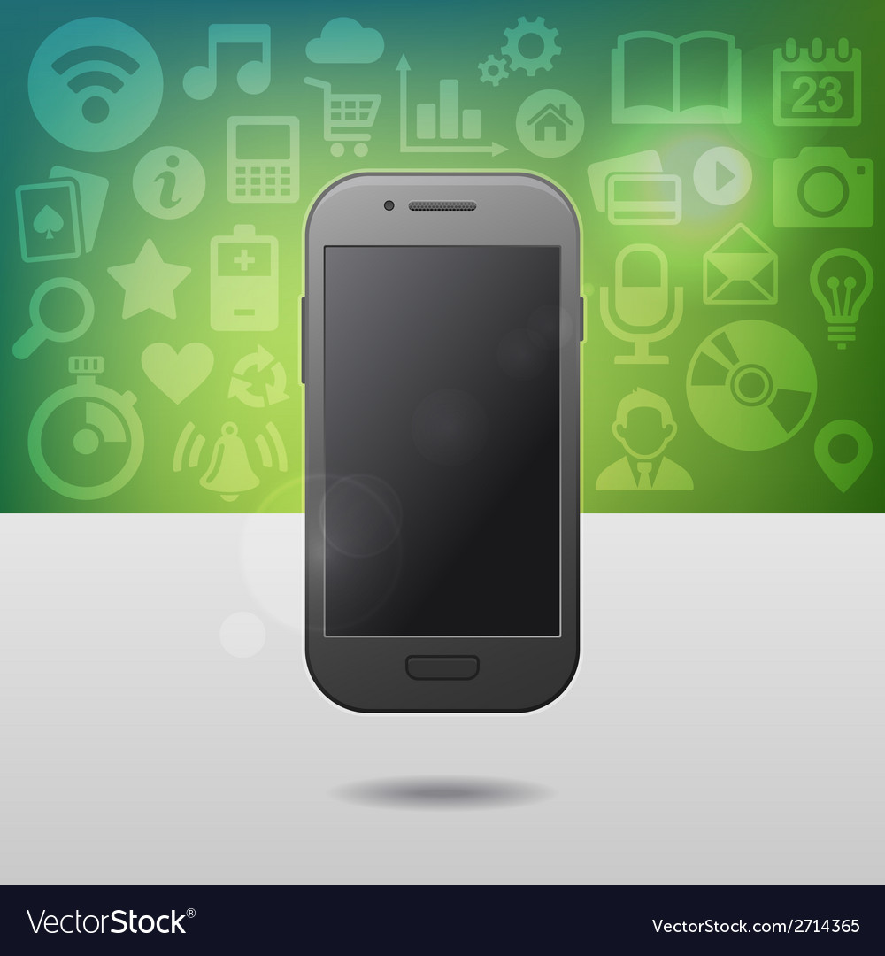 Template with touchscreen mobile phone device and vector | Price: 1 Credit (USD $1)