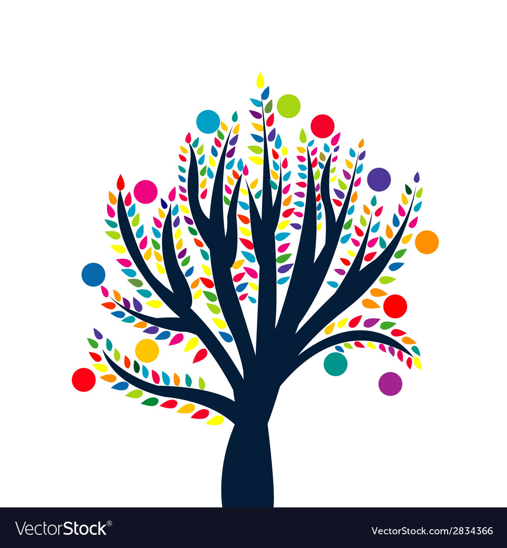 Abstract tree with colored leaves and fruits vector | Price: 1 Credit (USD $1)