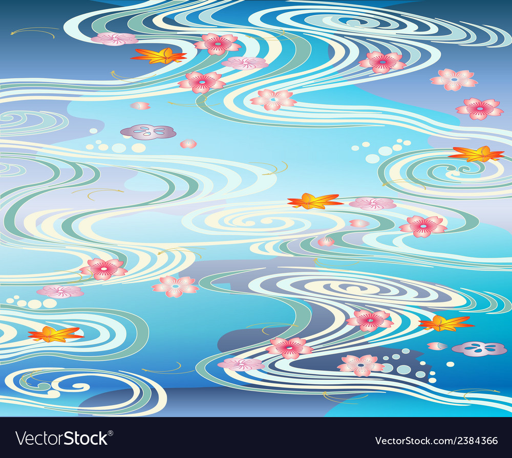 Beautiful-pool with blossoms floating on the vector | Price: 1 Credit (USD $1)