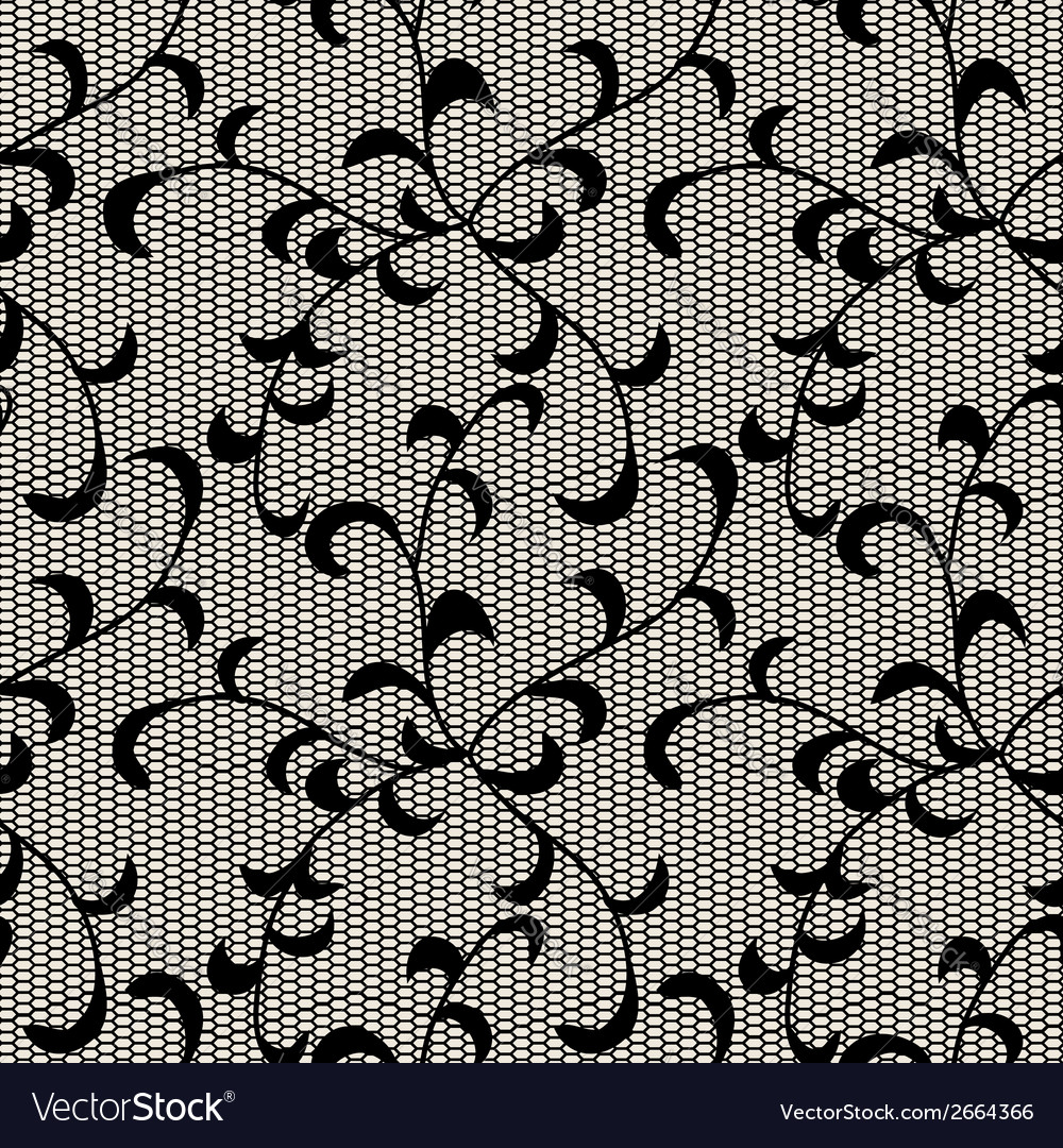Black leaves lace pattern vector | Price: 1 Credit (USD $1)