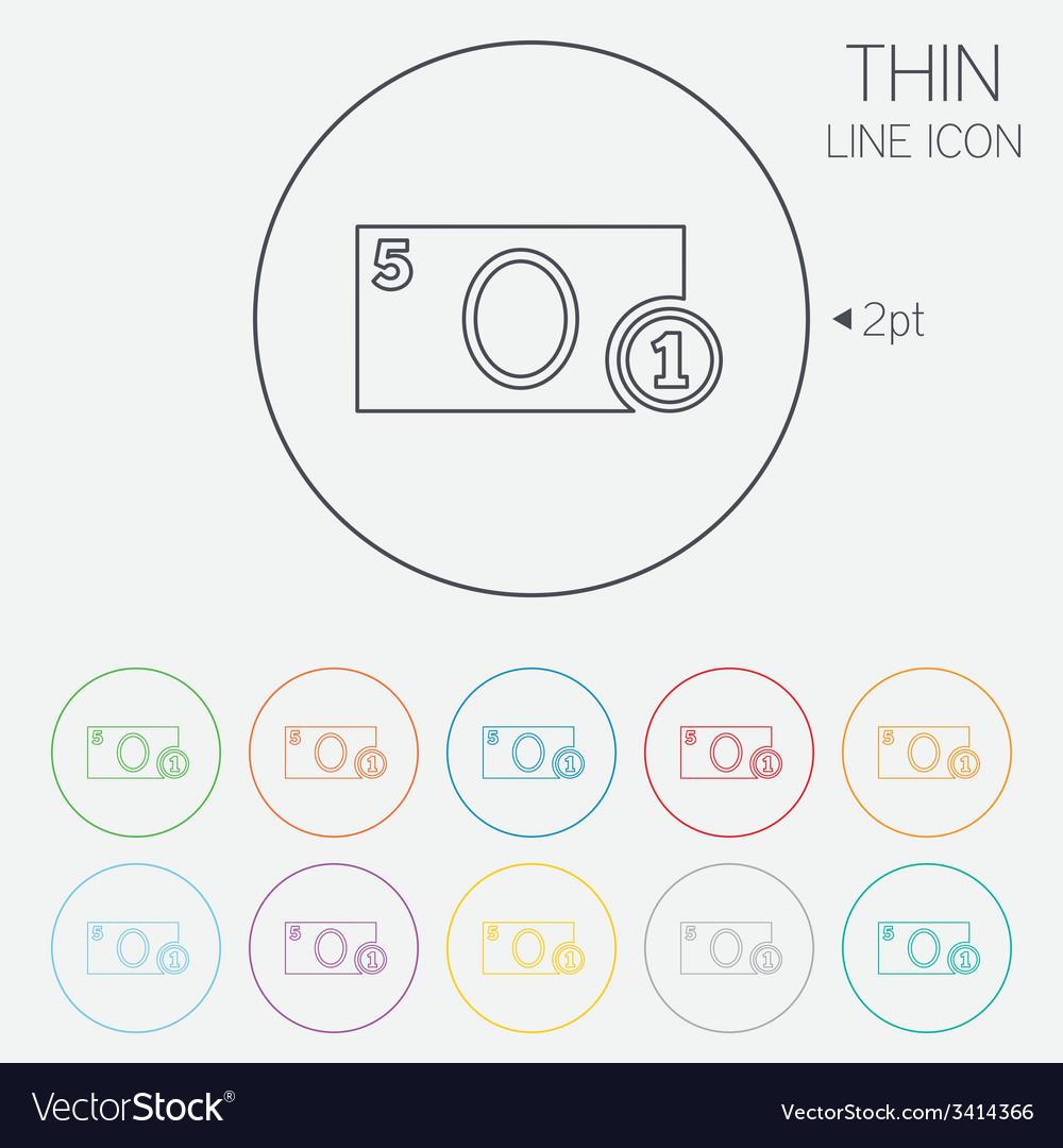Cash sign icon money symbol coin vector | Price: 1 Credit (USD $1)