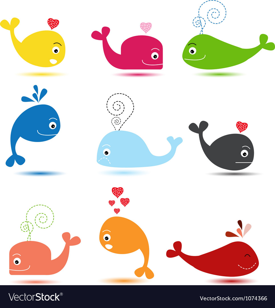 Cute whale cartoon collection vector | Price: 1 Credit (USD $1)