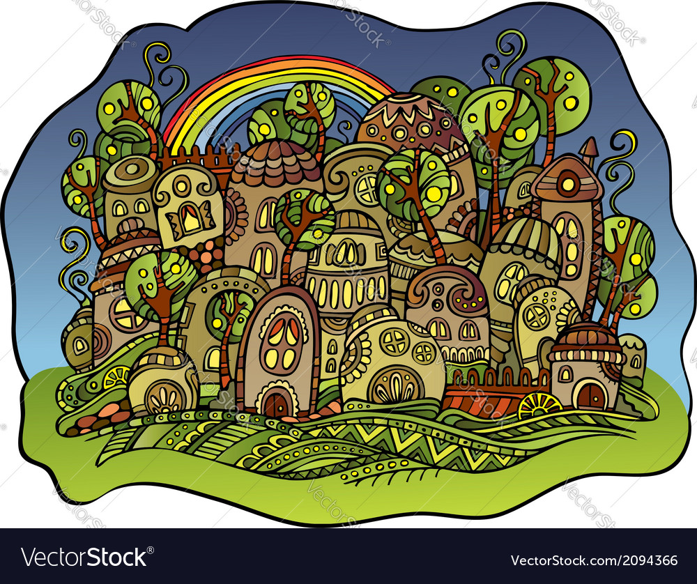 Fairy-tale drawing town vector | Price: 1 Credit (USD $1)