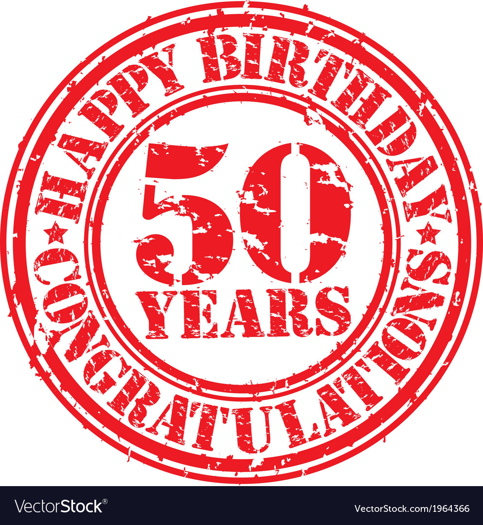 Happy birthday 50 years grunge rubber stamp vector | Price: 1 Credit (USD $1)