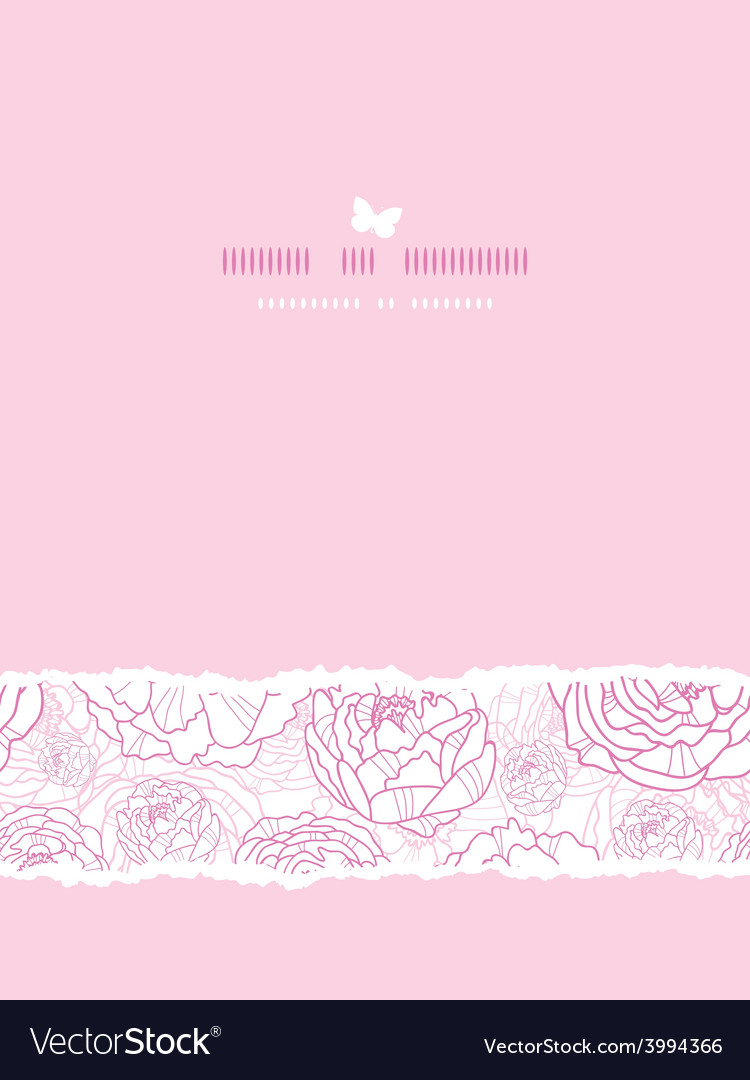Pink line art flowers vertical card seamless vector | Price: 1 Credit (USD $1)