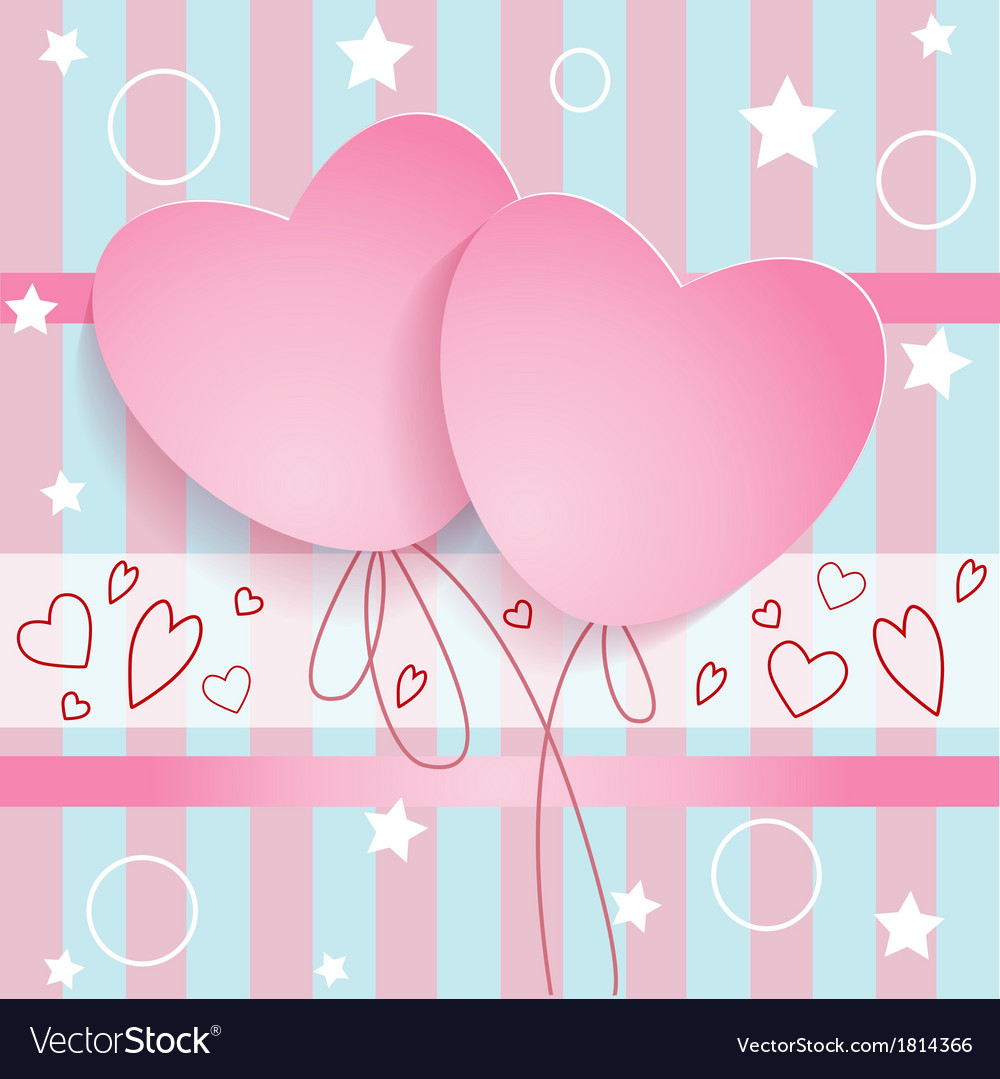 Postcard two hearts vector | Price: 1 Credit (USD $1)