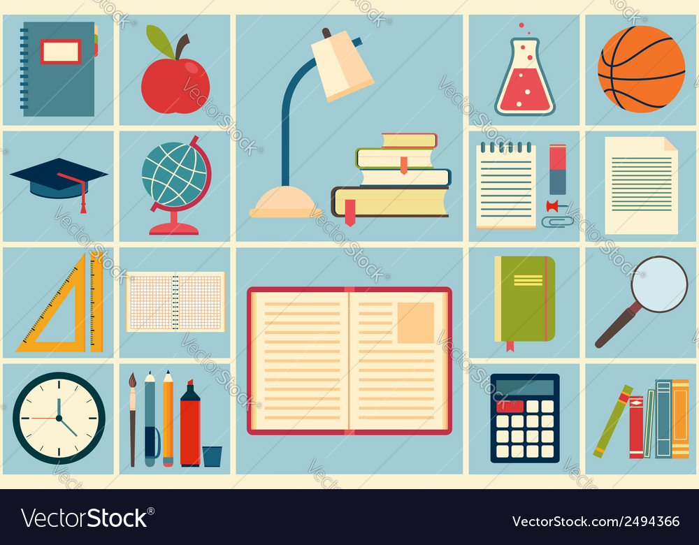 School and education icons set vector | Price: 1 Credit (USD $1)