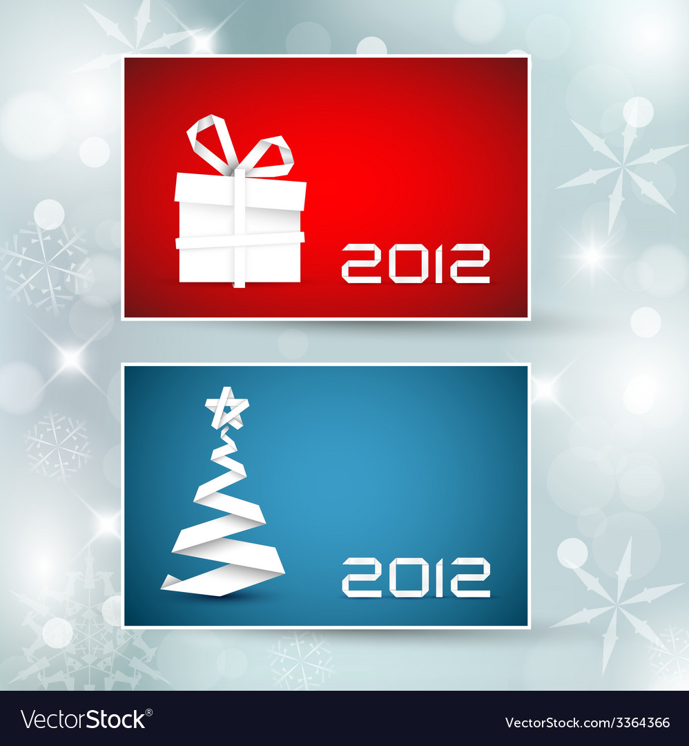 Set of christmas new year banners cards vector | Price: 1 Credit (USD $1)