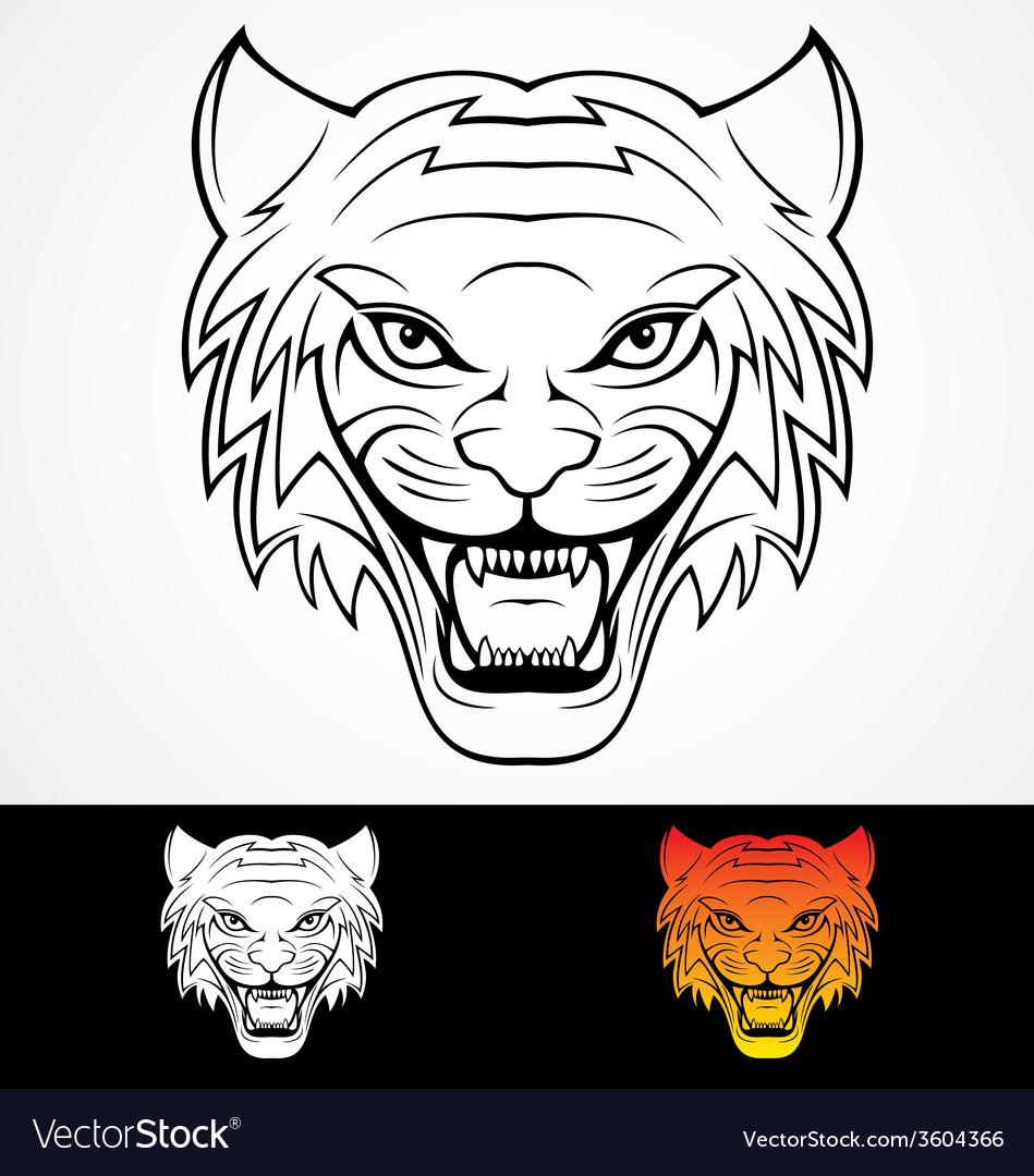 Tiger head tattoo design vector | Price: 1 Credit (USD $1)