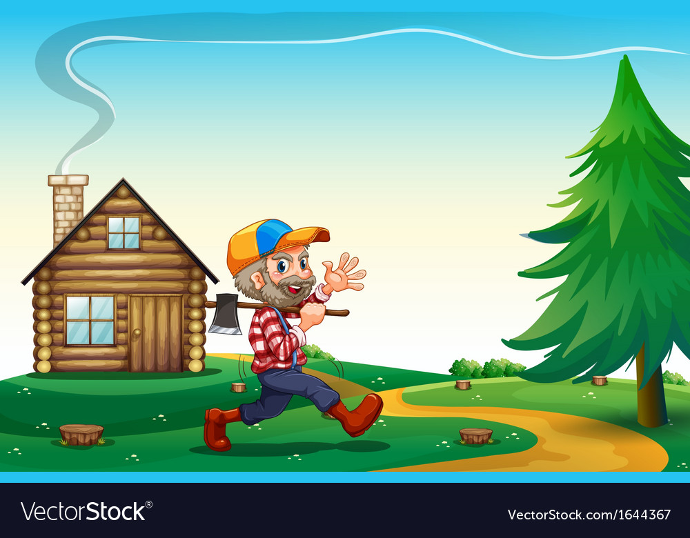 A happy lumberjack carrying an axe while walking vector | Price: 3 Credit (USD $3)