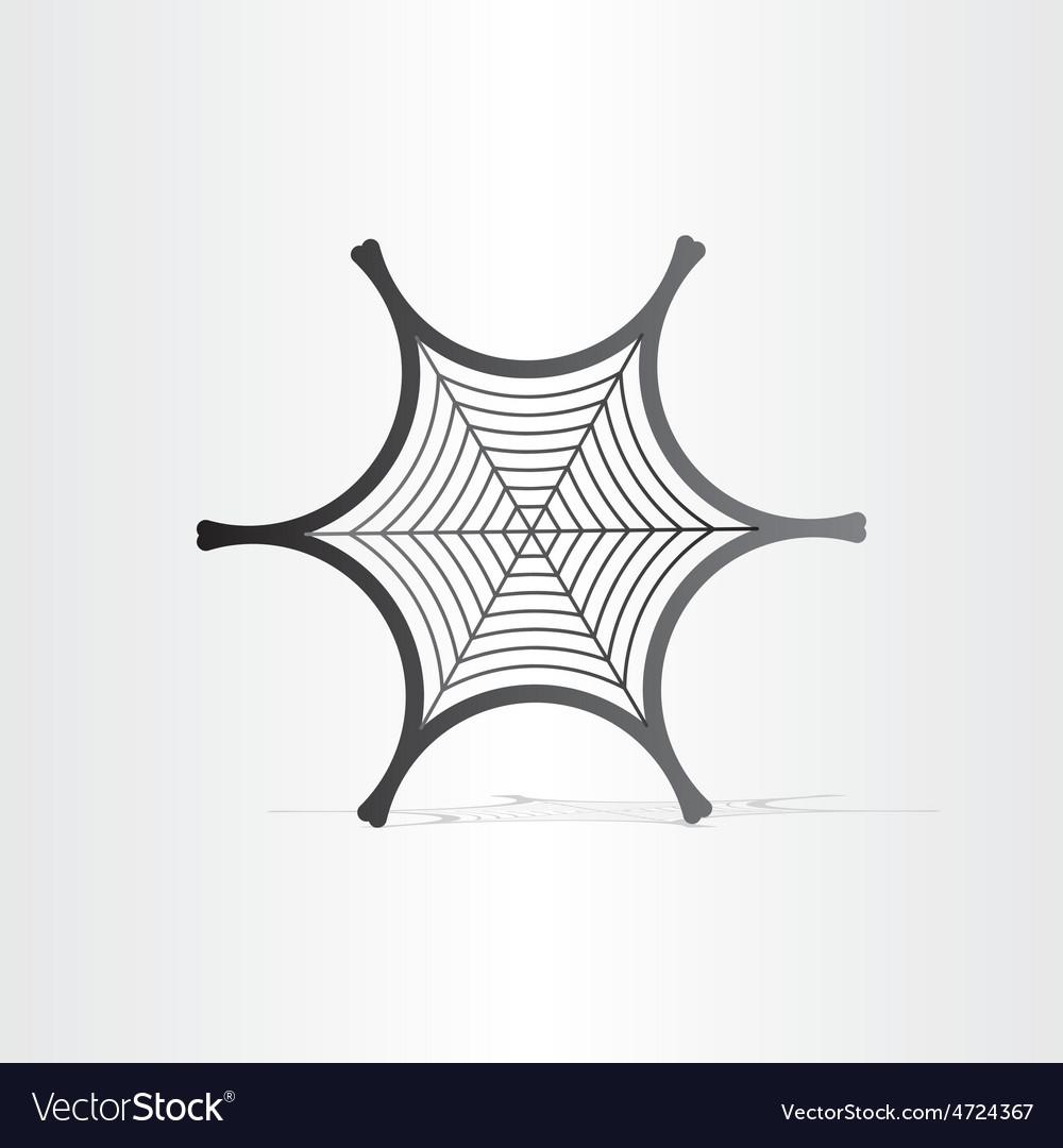 Black spider web symbol vector | Price: 1 Credit (USD $1)