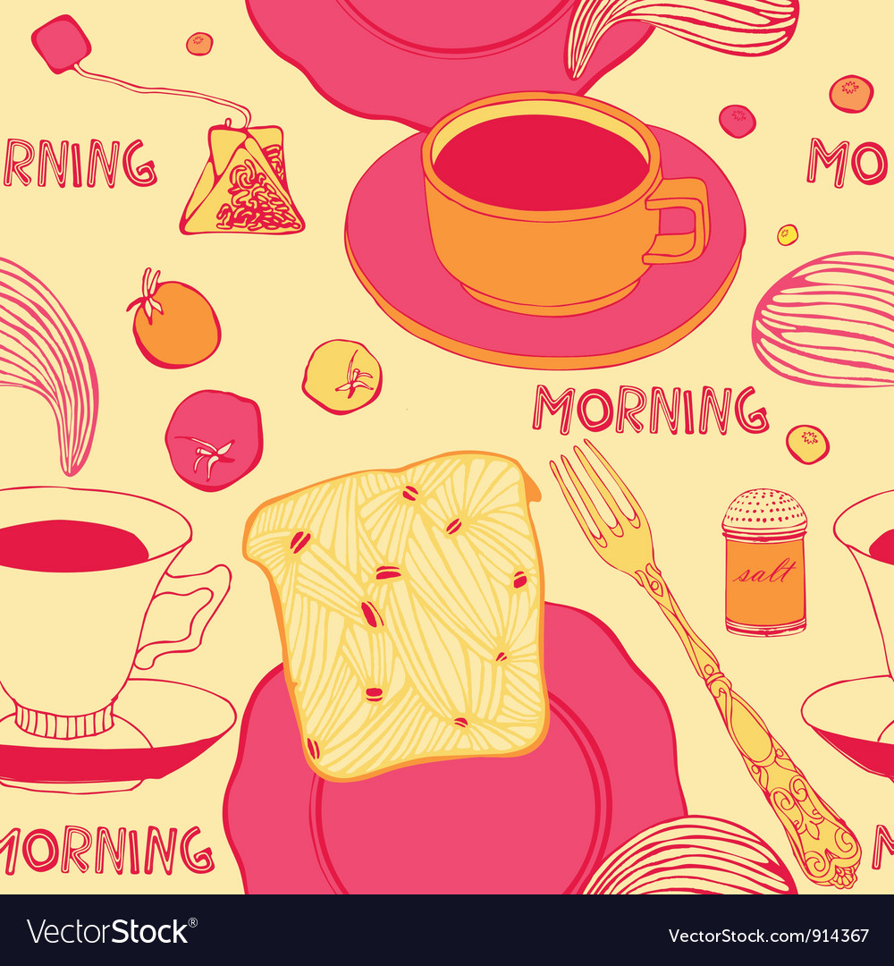 Breakfast with hot toasts tomatoes and tea vector | Price: 1 Credit (USD $1)