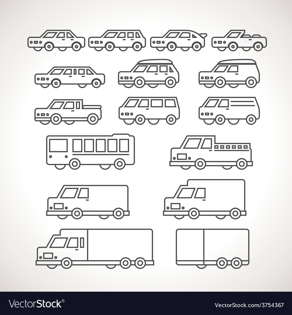 Cart types outline icons vector | Price: 1 Credit (USD $1)