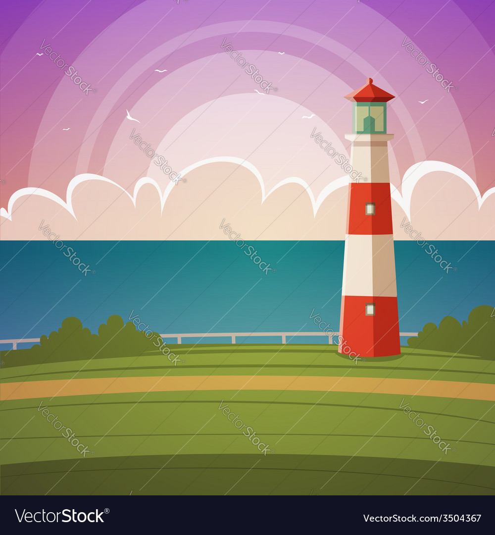 Cartoon lighthouse vector | Price: 3 Credit (USD $3)