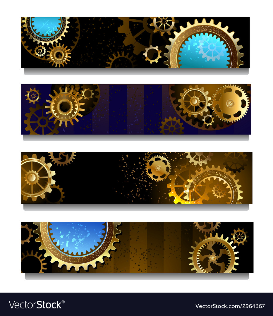 Four banners with gears vector