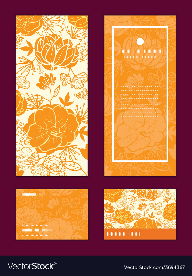 Golden art flowers vertical frame pattern vector | Price: 1 Credit (USD $1)