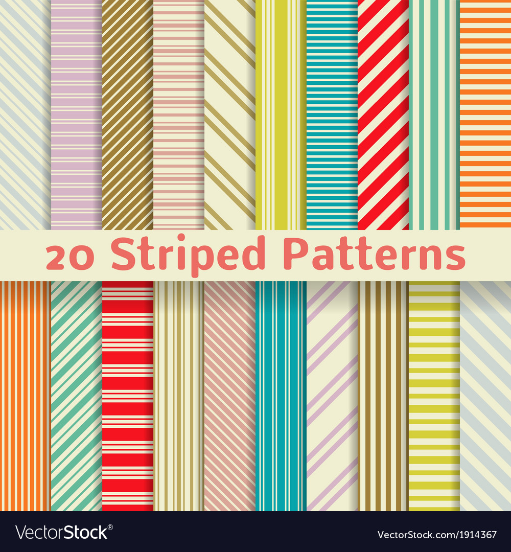 Retro striped seamless patterns tiling vector | Price: 1 Credit (USD $1)