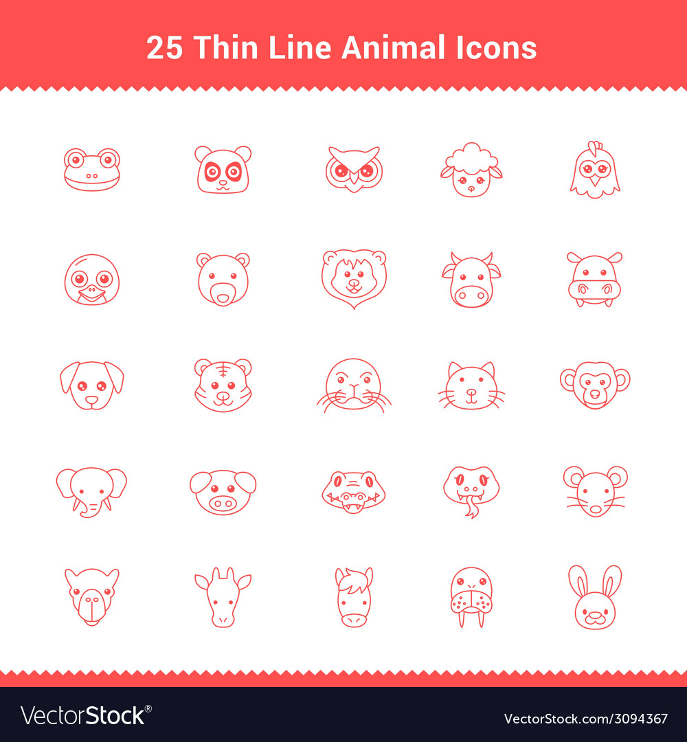 Set of thin line stroke animal icons vector | Price: 1 Credit (USD $1)