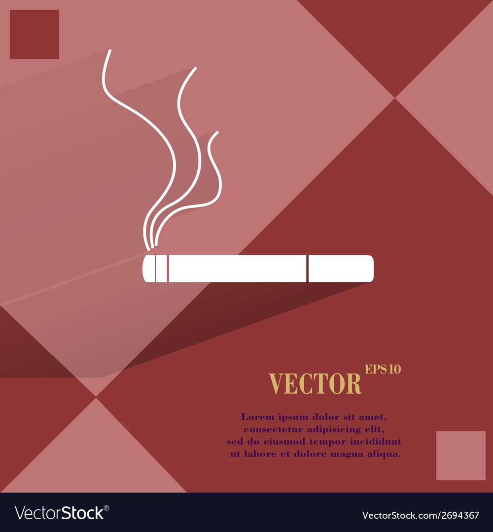 Smoking sign cigarette flat modern web button on a vector | Price: 1 Credit (USD $1)