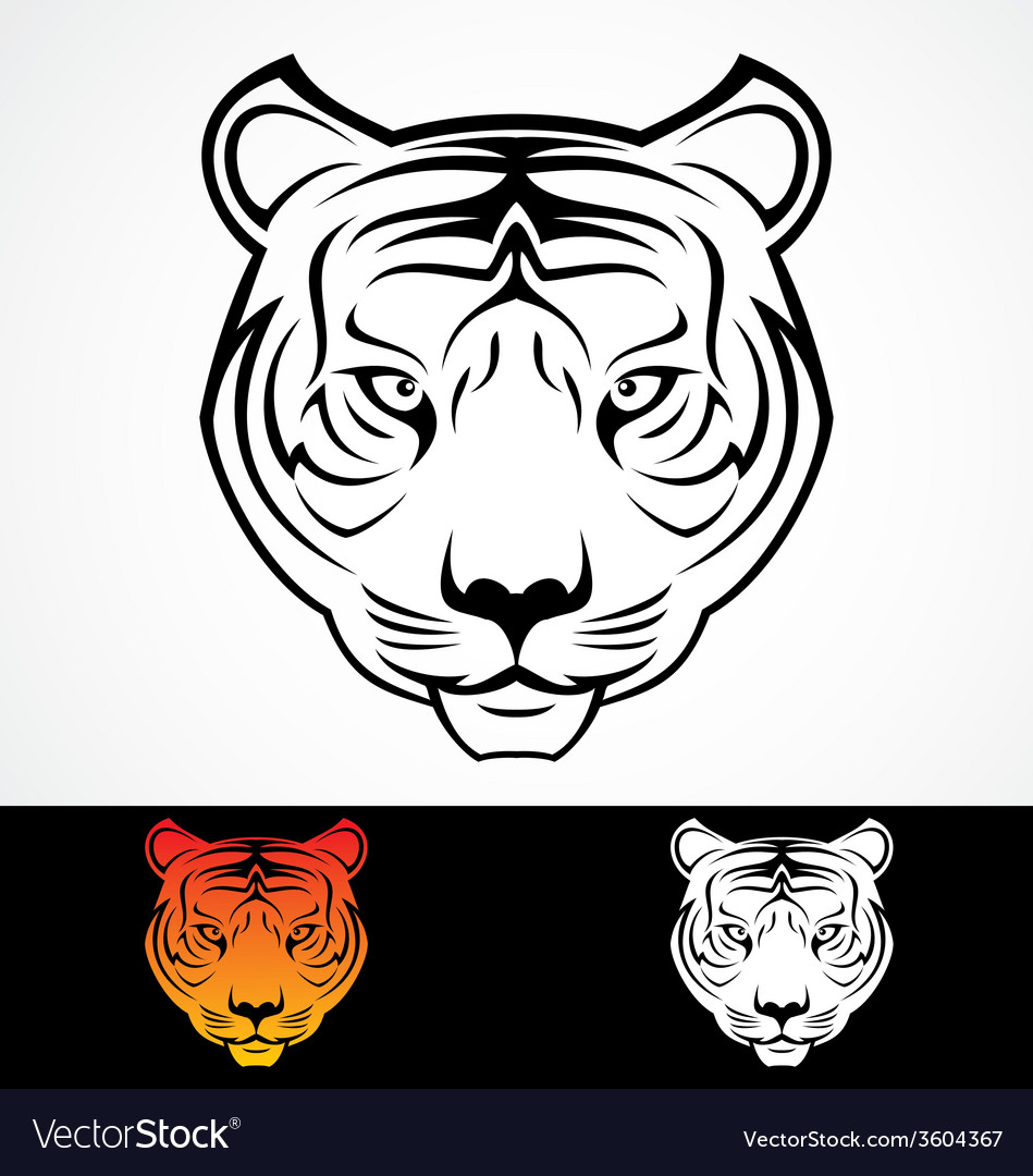 Tiger head tattoo design vector | Price: 1 Credit (USD $1)