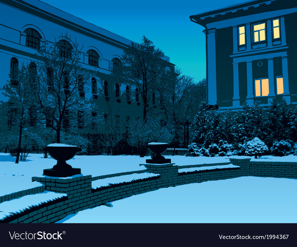 Winter evening in city vector | Price: 1 Credit (USD $1)
