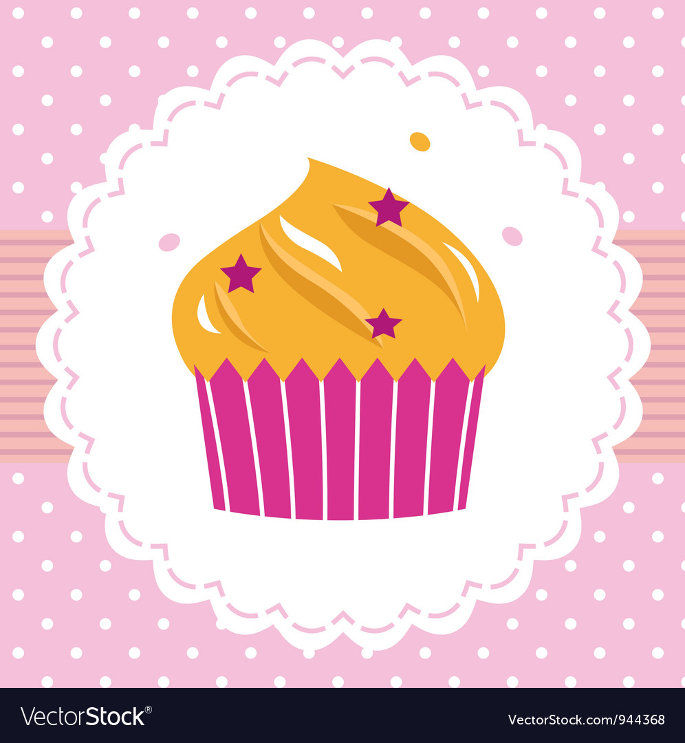 Cute party cupcake card vector | Price: 1 Credit (USD $1)