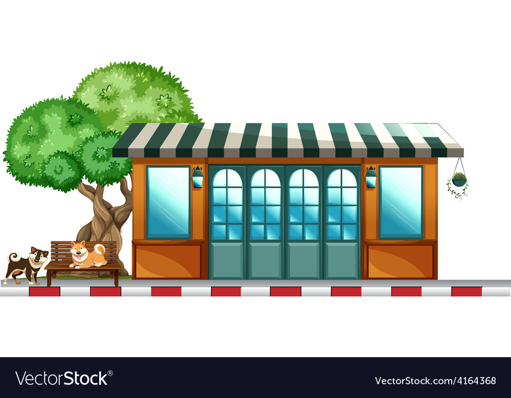 Dogs outside the restaurant vector   Price: 3 Credit (USD $3)