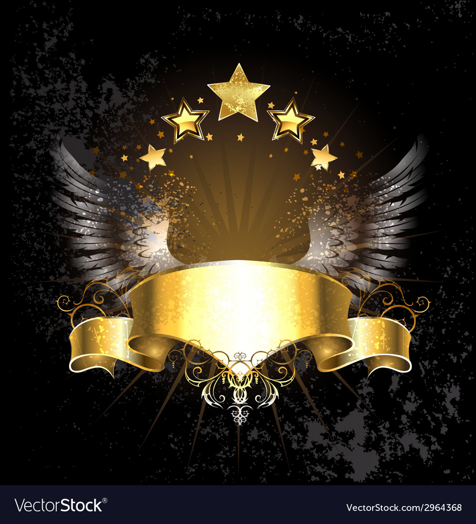 Gold ribbon with wings vector | Price: 1 Credit (USD $1)