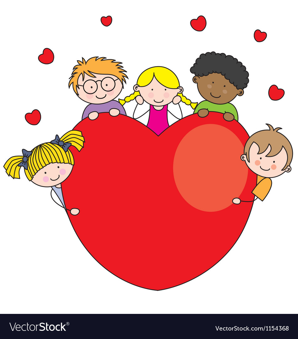 Group of children with a heart vector | Price: 1 Credit (USD $1)