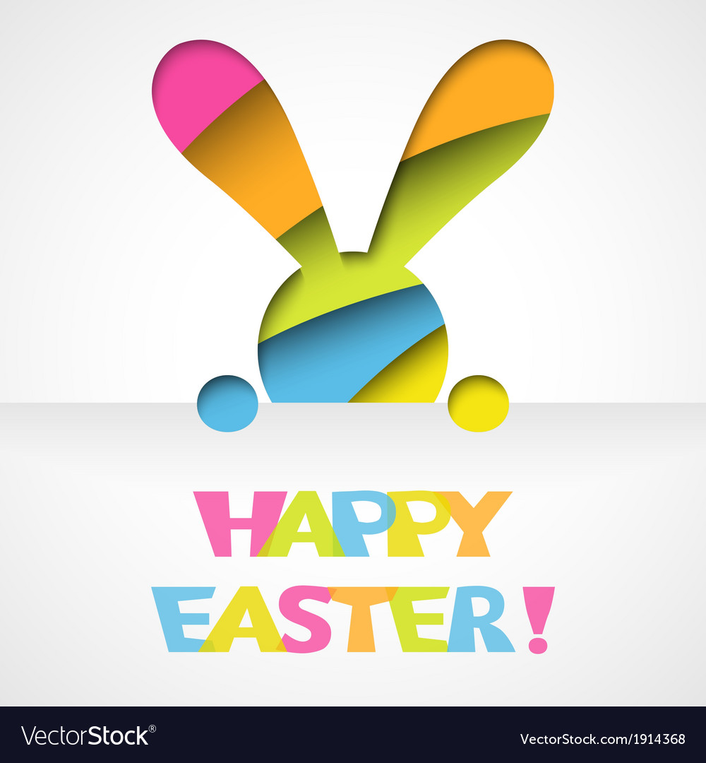 Happy easter card with bunny vector | Price: 1 Credit (USD $1)