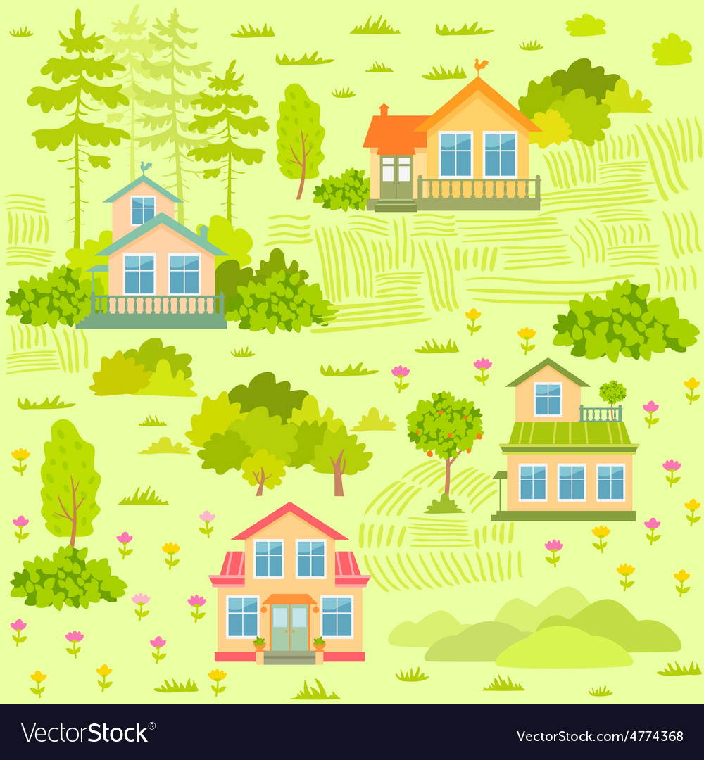 Houses seamless vector | Price: 1 Credit (USD $1)