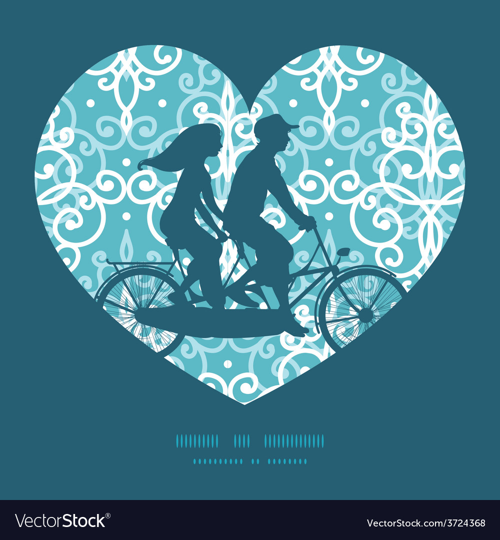 Light blue swirls damask couple on tandem vector | Price: 1 Credit (USD $1)