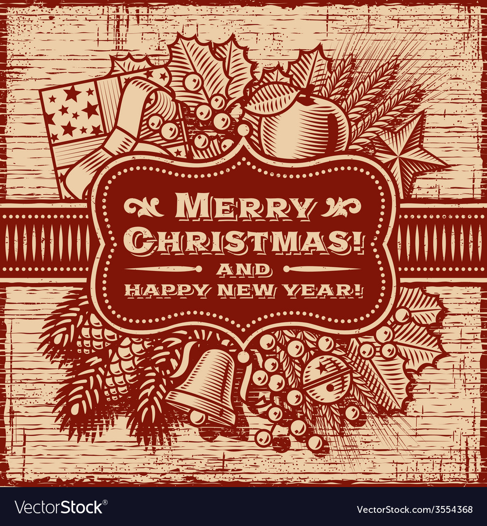 Merry christmas retro card brown vector | Price: 3 Credit (USD $3)