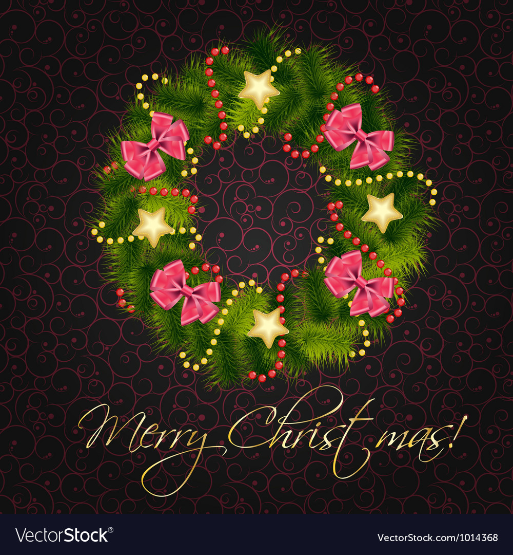 Realistic christmas wreath on vintage background vector | Price: 3 Credit (USD $3)