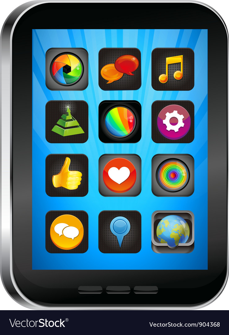 Tablet pc with app icons vector | Price: 1 Credit (USD $1)