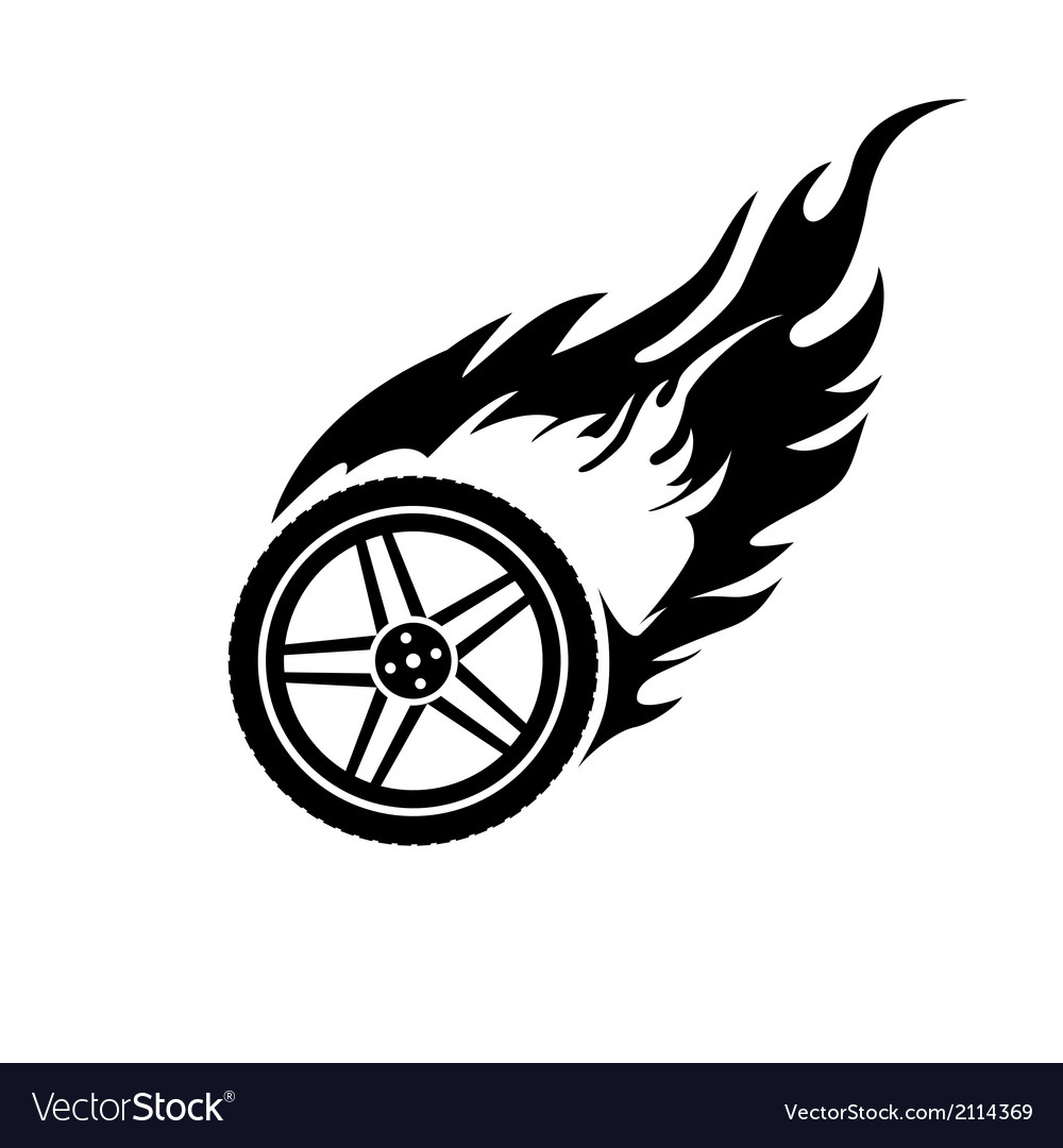 Black and white burning car wheel vector | Price: 1 Credit (USD $1)