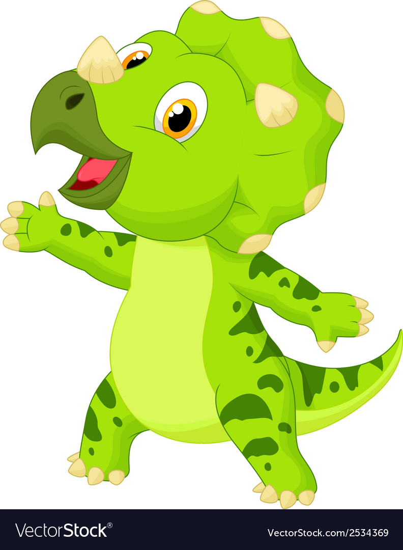 Cute baby triceratops cartoon vector   Price: 1 Credit (USD $1)