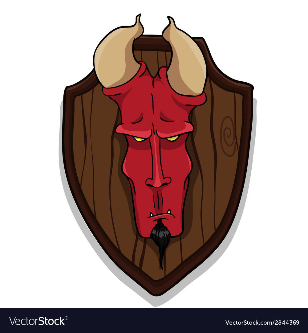 Devils head on trophy board vector | Price: 1 Credit (USD $1)