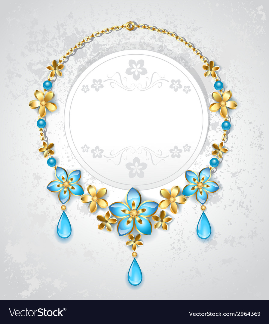 Necklace with gold flowers vector | Price: 1 Credit (USD $1)