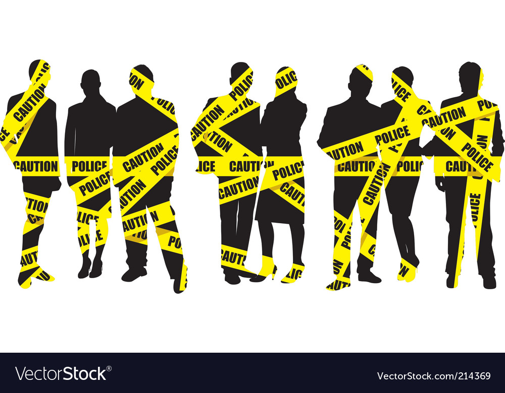 Police caution tape with people vector | Price: 1 Credit (USD $1)