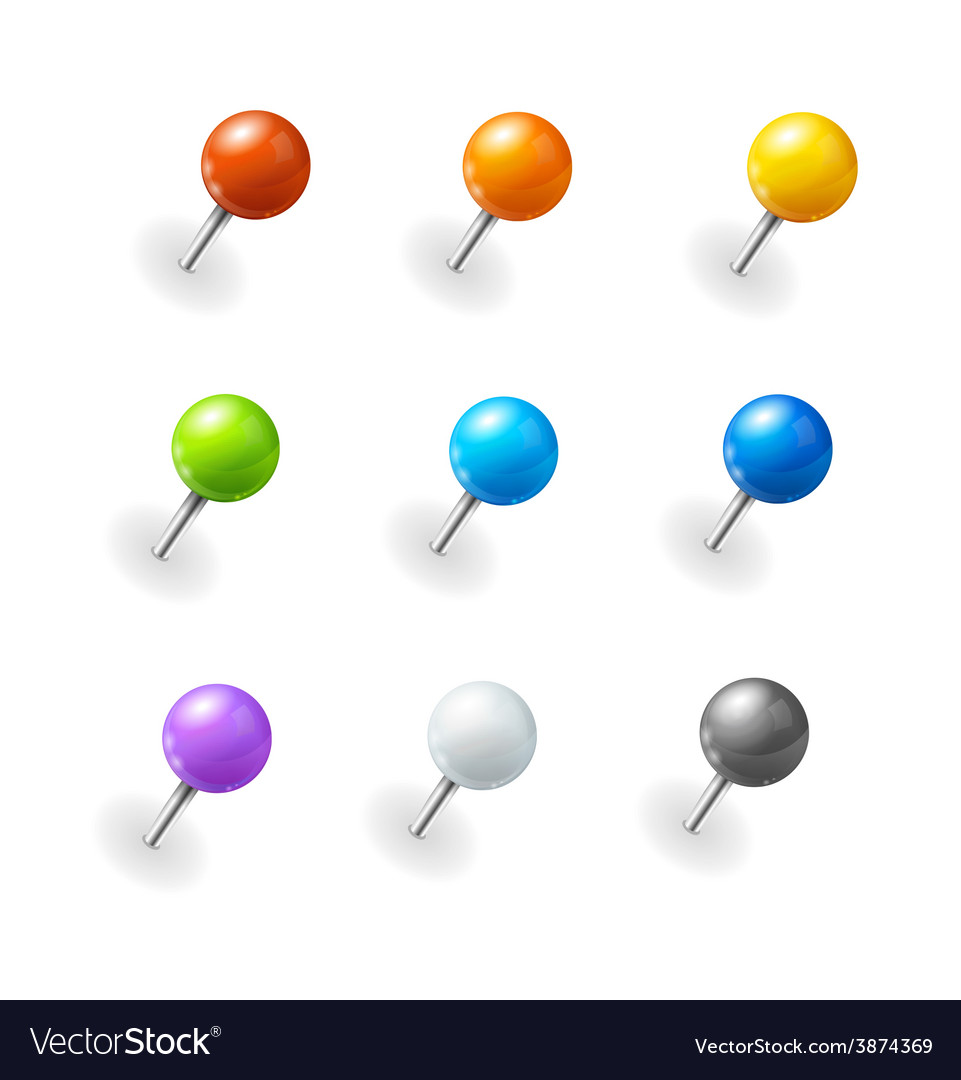 Pushpins set vector | Price: 1 Credit (USD $1)
