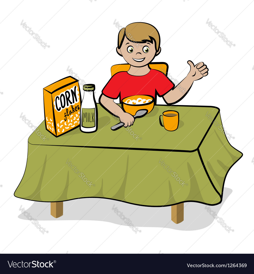 Small boy have a breakfast vector | Price: 3 Credit (USD $3)