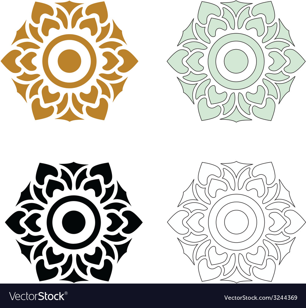 Thai pattern floral 03 vector | Price: 1 Credit (USD $1)