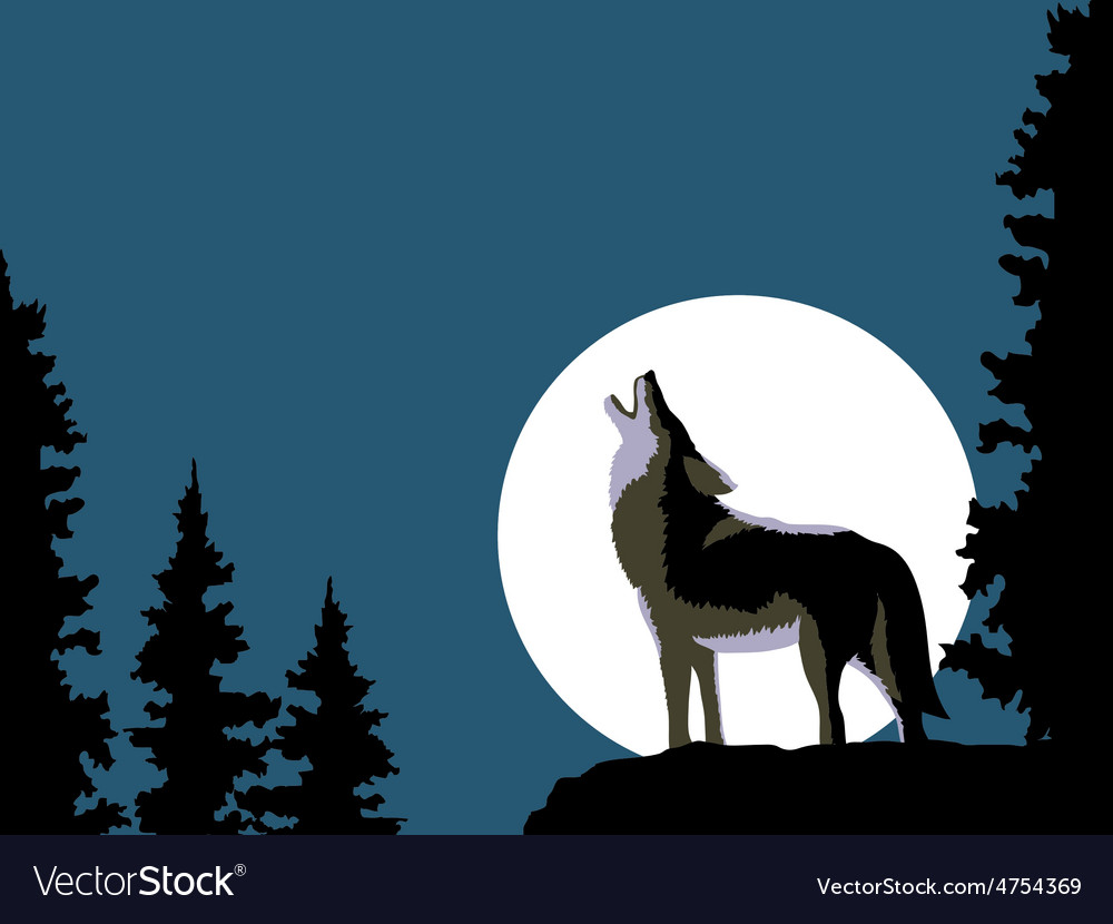 Wolf howling at the moon vector | Price: 1 Credit (USD $1)
