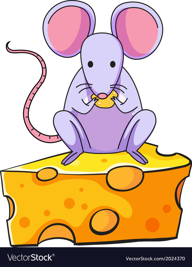A rat eating above the big slice of cheese vector | Price: 1 Credit (USD $1)