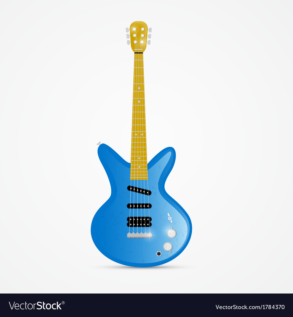 Blue electric guitar isolated on white background vector | Price: 1 Credit (USD $1)