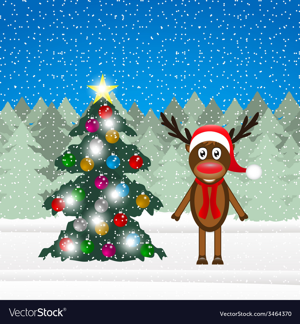 Christmas reindeer and christmas tree vector | Price: 1 Credit (USD $1)