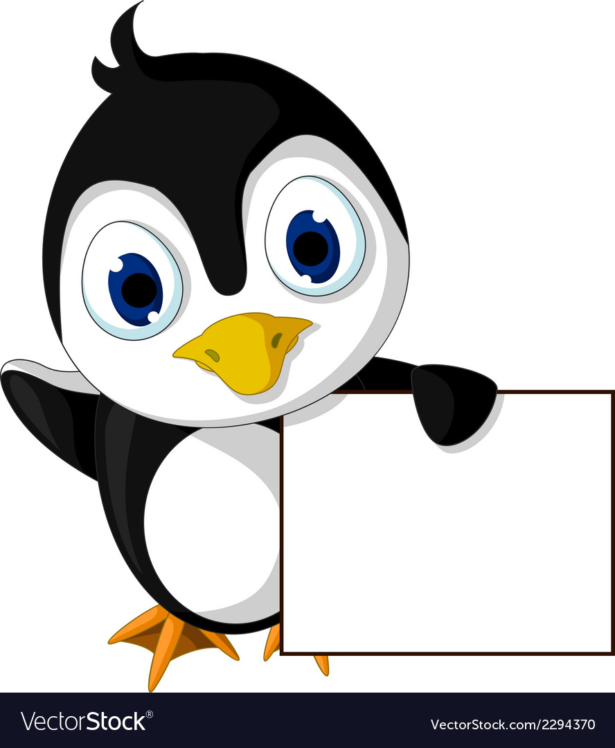 Cute little penguin cartoon holding blank sign vector | Price: 1 Credit (USD $1)