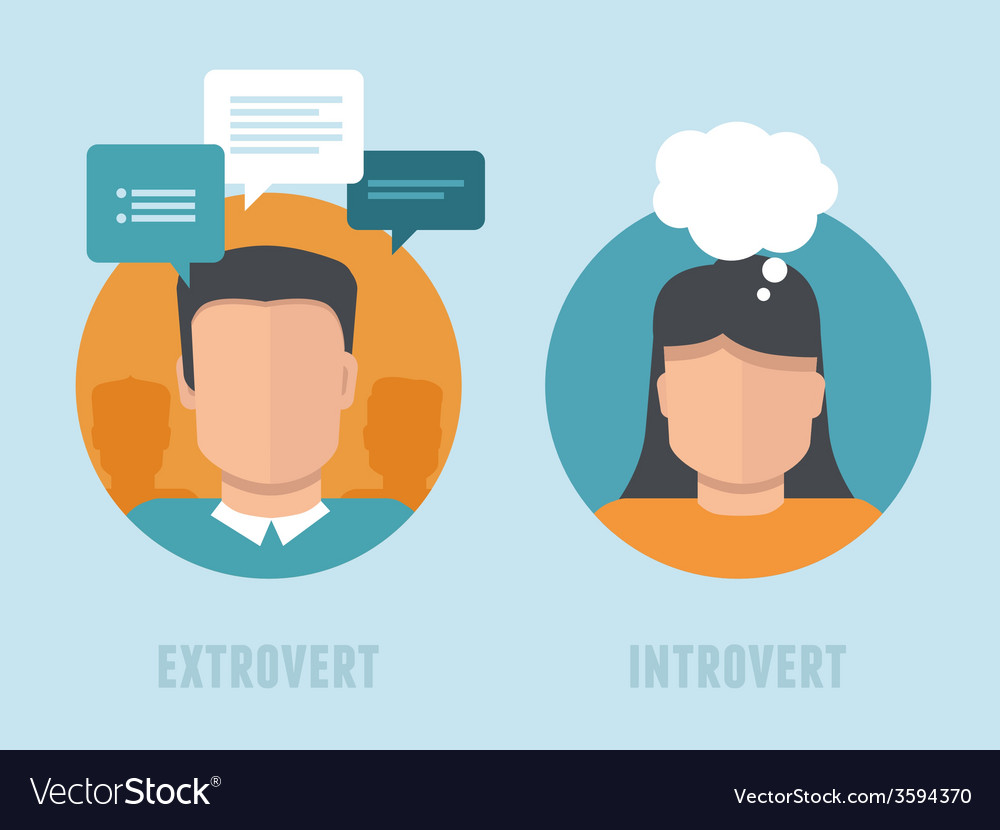 Extraversion-introversion infographics in flat vector | Price: 1 Credit (USD $1)