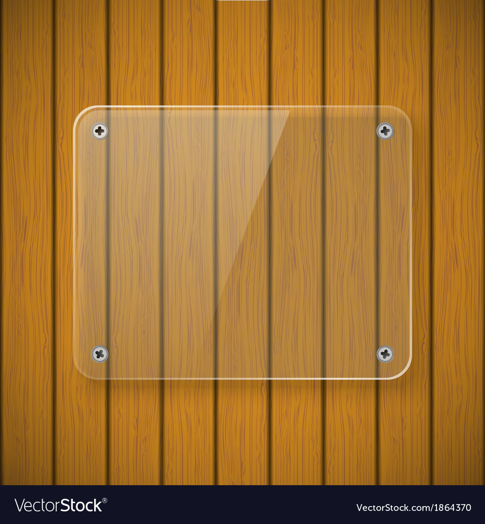 Glass plate on the background of wooden wall vector | Price: 1 Credit (USD $1)